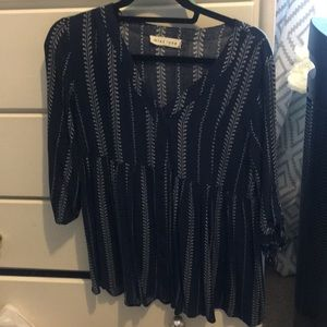 Navy & White 3/4 top